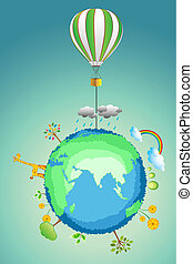 earth with parachute - illustration of earth with parachute