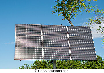 Sulight Reflecting on Solar Panel - A solar panel with the...