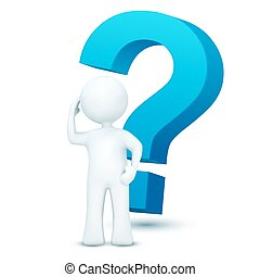 3d character with question mark - illustration of 3d...