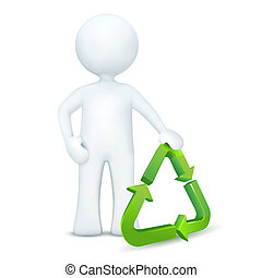 3d character standing with ecology symbol