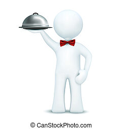 3d waiter serving food - illustration of 3d character...