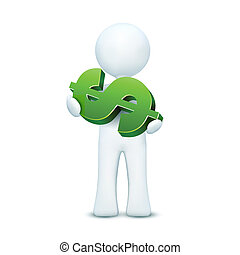 3d character holding dollar - illustration of 3d character...
