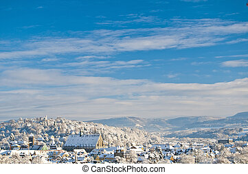 view to a city in wintertime