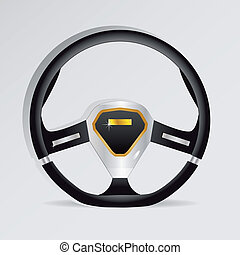 Steering wheel - vector illustration - Sport Steering wheel...