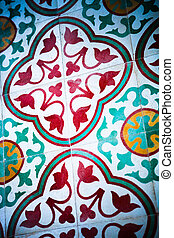Historical building. - Close-up of floor tiles of an...