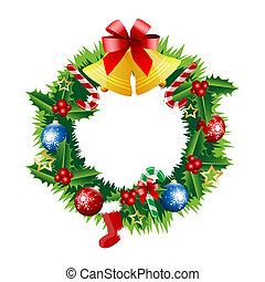 Christmas wreath on the white background