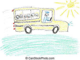 School bus - Child drawing of School Bus made with wax...