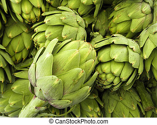 Pile of Artichoke on display at a farmers market in San...