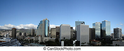 Downtown Honolulu Skyline along Nimitz Highway with...