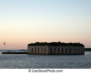 Fort Gorges in Casco Bay at dusk - Fort Gorges is on Hog...