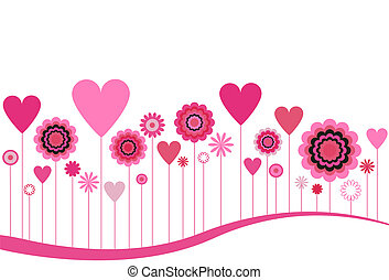 Flowers and Hearts in Pink