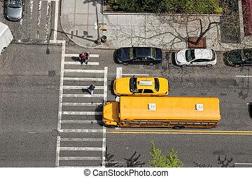 Crosswalk - City crosswalk. Shot from the top of building.