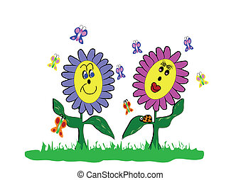 spring flowers cartoon with ladybug