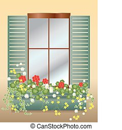 window box - an illustration of a window box with geraniums...
