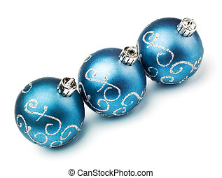 three blue decoration balls isolated on white