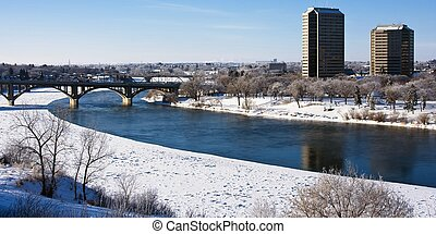 Winter in the City of Saskatoon, Canada - Buildings and...
