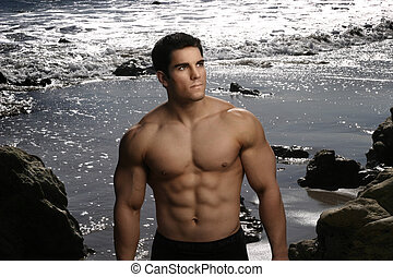 Sexy bodybuilder at the beach - Portrait of a young male...