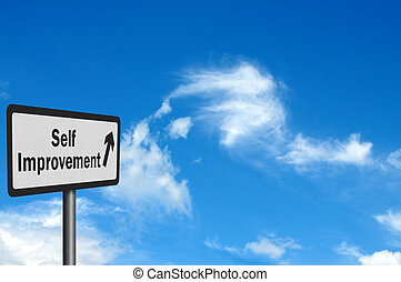 Photo realistic 'self improvement' sign against bright blue...