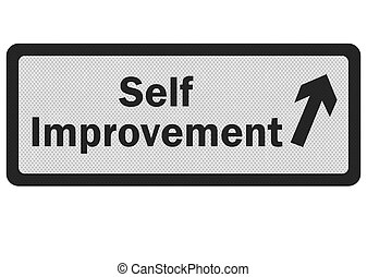 Photo realistic 'self improvement' sign isolated on white