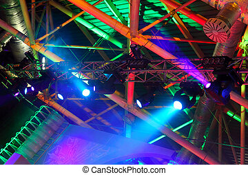 colored spotlights on ceiling - lighting equipment at...