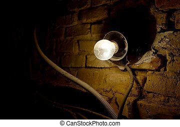 Lightbulb - Lamp in an old dirty chamber