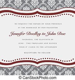 Vector Red Ornate Frame - Vector wedding frame Easy to edit...