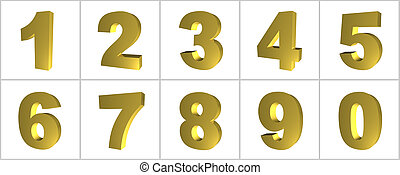 Gold Internet Icon Numbers - Stainless Steel Internet Icon...