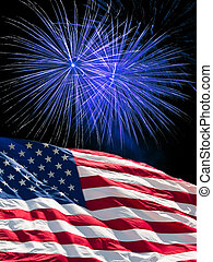 The American Flag and Fireworks - The American Flag and Blue...