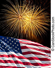 The American Flag and Fireworks