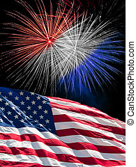 The American Flag and Fireworks - The American Flag and Red...
