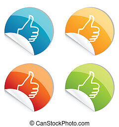 thumbs up logo - illustration of thumbs up logo on white...