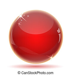 red crystal ball - illustration of red crystal ball on...