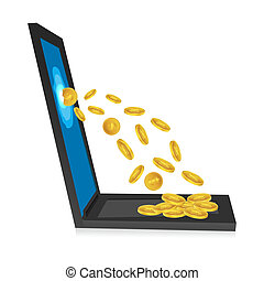 laptop with dollar coins
