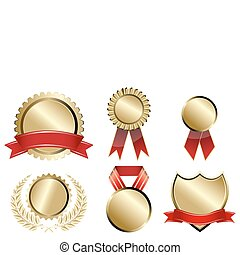 types of prizes - illustration of types of prizes on white...
