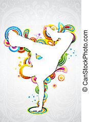dancing man - illustration of dancing man on colorful music...