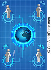 networking - illustration of networking with globe and man