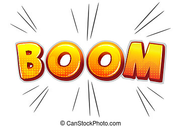 boom text - illustration of boom on white background