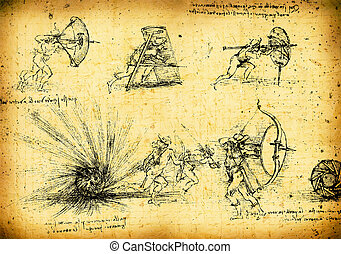 Leonardo's Da Vinci engineering drawing from 1503 on...