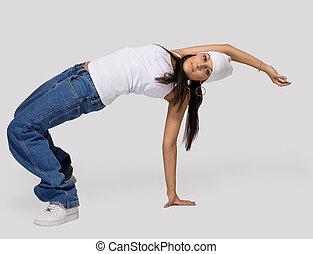 joven, belleza, niña, baile, cadera, salto