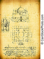 Leonardos Da Vinci engineering drawing from 1503 on textured...