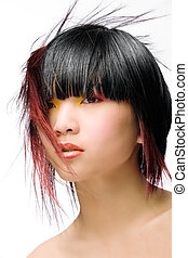 Funky hair - Asian model with colorful makeup and whacky...