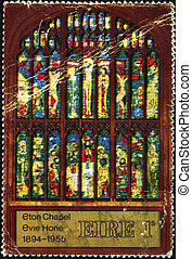 Eton Chapel - IRELAND - CIRCA 1956: A stamp printed in...