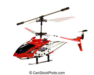 Model radio-controlled helicopter isolated on a white...