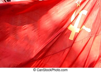 Flag of Soviet Union - Hammer and sickle on the communist...