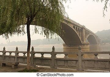 Bridge on the Yi River in a haze - Bridge on the Yi River,...