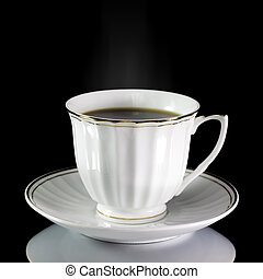 cup of coffee on a black background