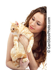 Girl and British cat isolated on a white background