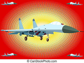 Fighter - Airforce. Modern fighter aircraft on an abstract...