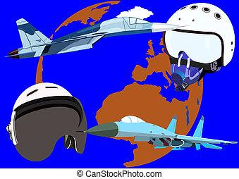 Flight helmets and fighter jets