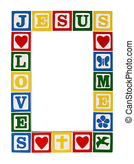 Frame of Faith - A frame constructed of primary colored...